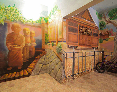 Thailand Theme Painting in Lobby for family