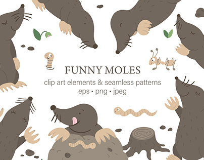 Funny Moles clip art and seamless patterns graphic set