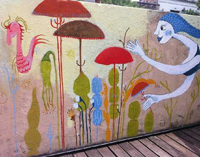 Participación de mural en terraza Mural colaborativo