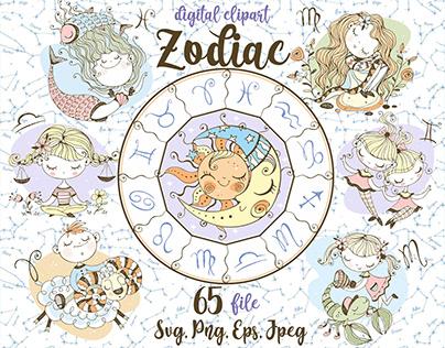 Zodiac kids Svg Png Digital clipart in cute Doodle