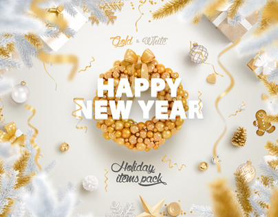 Gold & White - Christmas, New Year Pack
