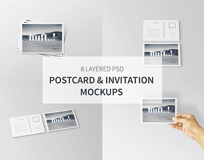 Postcard & Invitation Mockups   Free Download