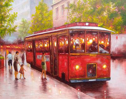 """Old bus. Richmond"" oil on canvas"