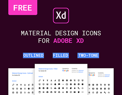 FREE | Google Material Icons for Adobe XD