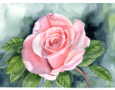 """Serie """"Roses in the wind"""" Watercolor"""