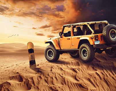 Jeep on desert