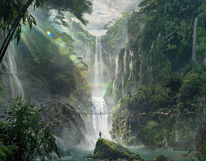 Waterfall Matte Painting
