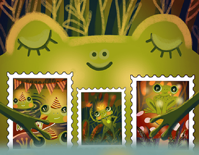 """""""Happy Frog"""" children's illustration and stamps"""