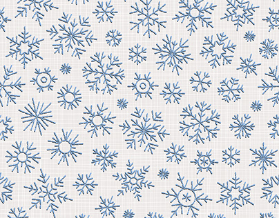 Seamless patterns: embroidered snowflakes. Vector