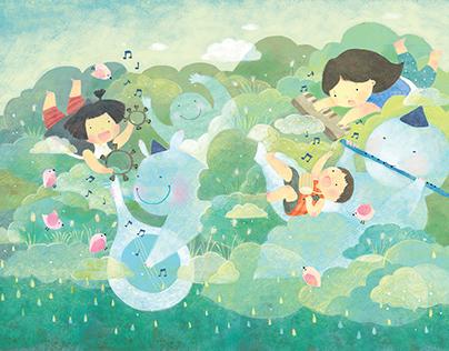 CLOUD PARTY(children's book illustration)