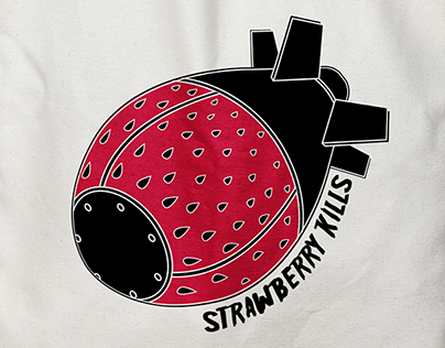 "Logo for ""Strawberry kills"" rock band"