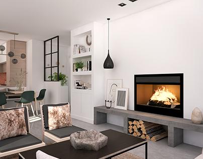 Cozy living room in warm neutral tones