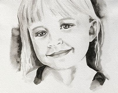 Hand painted ink portraits