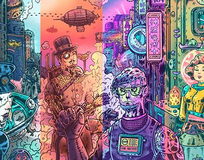 Retrofuturism Punks|「復古未來主義」插畫, 設計