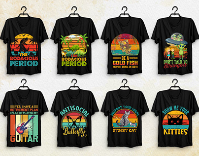 Retro Vintage Sunset T-Shirt Design