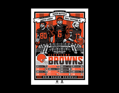 Cleveland Browns 3-Player Schedule Poster