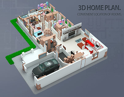 3D HOME PLAN. Convenient location of rooms.