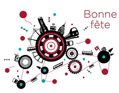 Cartes anniversaires TPF (Transports Publics Fribourg)