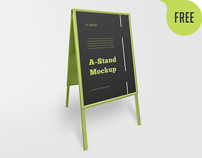 Free Outdoor Advertising A-Stand Mockup