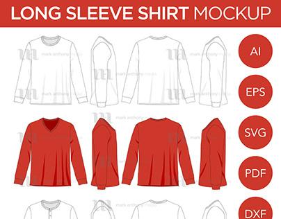 Long Sleeve T-Shirt, V-Neck - Vector Template Mockup