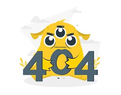 404 Error motion - cute monster concept