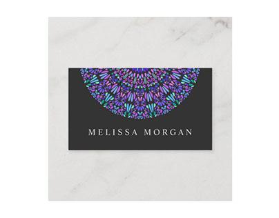 Colorful Spiritual Petal Mosaic Mandala Business Card
