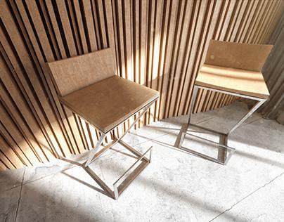 Baro kėdžių vizualizacija.