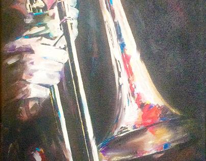 Trombone player - acryl, oil pastel