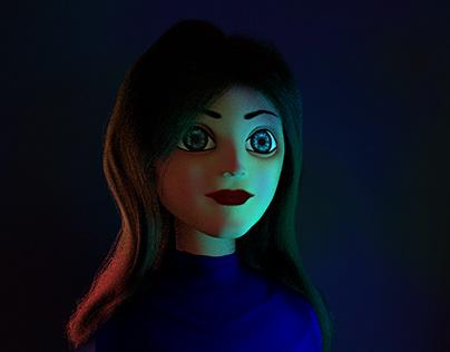 #3DSanta Cartoonie Girl Portrait