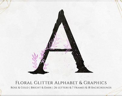 Floral Glitter Alphabet & Graphics