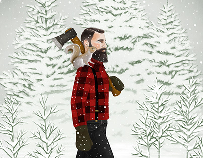 Illustrations of snow and winter scenes