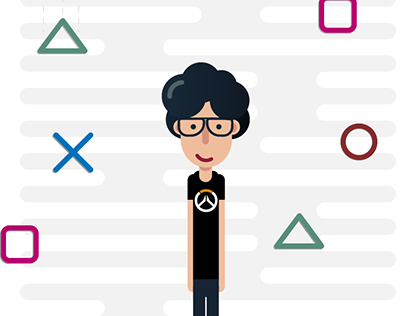 The Gamer - Geometric Flat Illustration