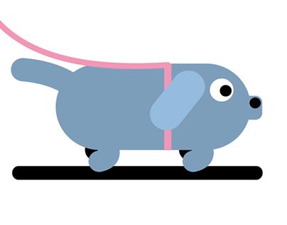 Blue dog walking his human