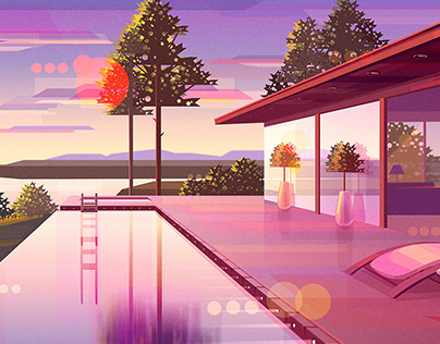 Landscapes at sunset