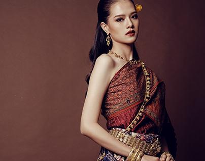 Thai traditional costume by Thai chintz pattern