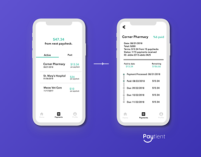 Mockup // Paytient - Track Payment UI