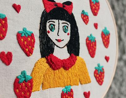 Amor frutilla (bordado)