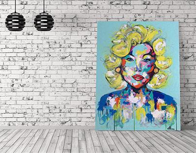 """Peinture acrylique """"Miss"""" sur toile galerie"""