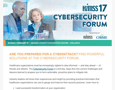 HIMSS17 Cybersecurity Forum Email Newsletter