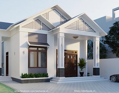 Mẫu nhà cấp 4 mái thái đẹp với nội thất gỗ tự nhiên