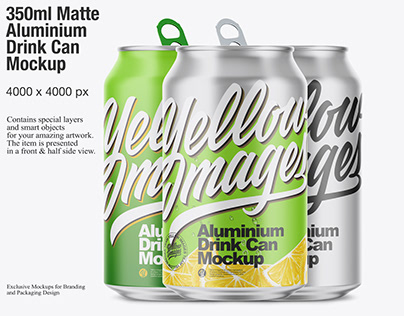 350ml Matte Aluminium Drink Can Mockup