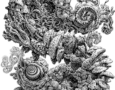 Mushroom Menagerie Ink Drawing and Screen Print