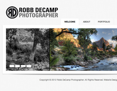 Robb DeCamp Photographer One Page Website