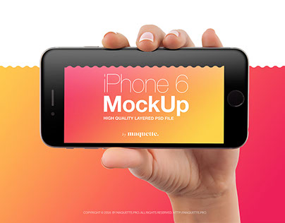 iPhone 6 in Female Hand PSD Mockup