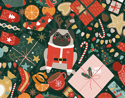 Christmas time pattern. Winter holiday illustrations