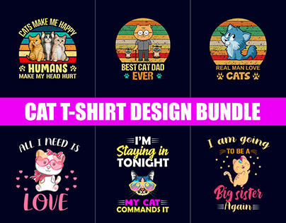 Funny Cat T-Shirt Design Bundle