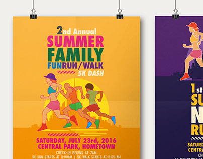 Elegant Summer Fun Run Flyer U0026 Poster Template On Behance Intended For Fun Poster Templates