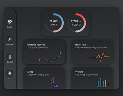 Health App Dark UI