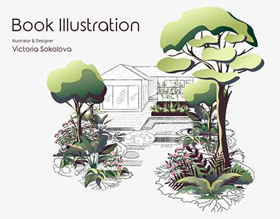 Illustration for the garden designing book cover