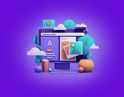 UI Design 3D Illustration